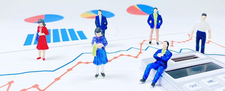 ビジネスに関するグラフや電卓